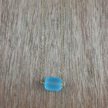 14k gold filled blue sea glass bead necklace / bridesmaid necklace / dainty necklace / minimalist necklace / statement necklace