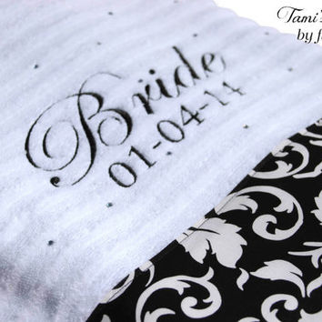 Personalized Bride Bath Towel, Wedding, Bridal Shower, Custom Towel