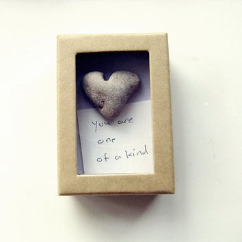 Unique Valentine's Day Card - a heart shaped rock in a box