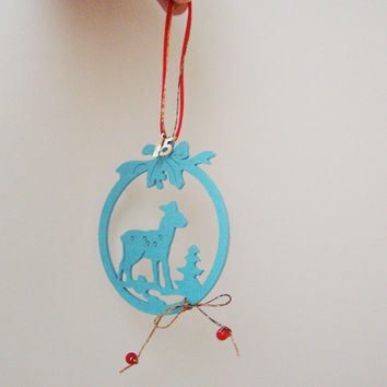 Turquoise blue ornament, light, wooden, Christmas ornament with deer, tree and holly outline, wood ornament with red cord and 2015 charm