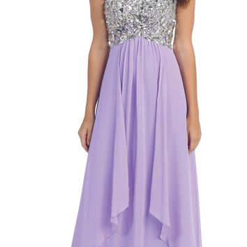 Floor Length Chiffon Lilac Evening Gown Strapless Sparkly Rhinestones