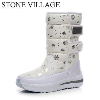 Winter New Korean Waterproof Boots-In-Tube Wedge Snow Boots Warm Thick Cotton Padded Shoes Women Rain Boots