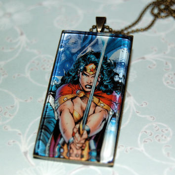 Wonder Woman Comic Book Jewelry  Pendant with 20 by PopCycled