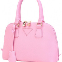 Pink Gold-Tone Leather Handbag