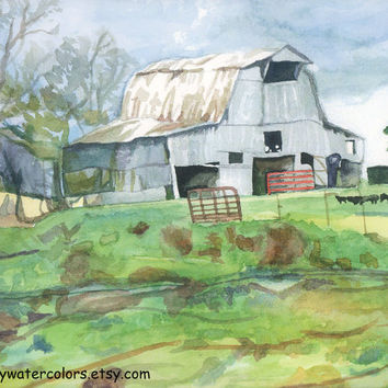 Tobacco Barn Watercolor Print. Barn painting. Watercolor art. Country decor. Barn wall art. Barn picture. Barn artwork. Rustic decor.