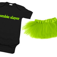 Zombie Slayer One Piece & Lime Green Tutu Set