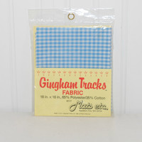Vintage Gingham Tracks Fabric (c. 1983) Mats Etc. 18 inches x 18 inches, Polyester and Cotton Blend, Blue Gingham Fabric, Quilting, Sewing