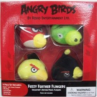 Angry Birds Flingers 2 Inch Soft Pencil Topper 4Pack Red Bird, Yellow Bird, Black Bird Green Pig