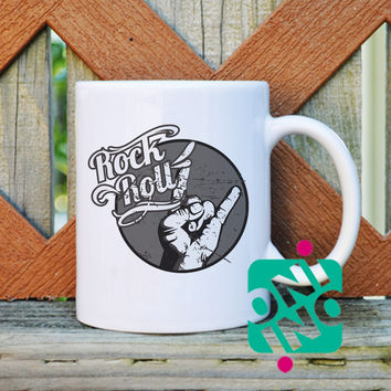 Rock n Roll Coffee Mug, Ceramic Mug, Unique Coffee Mug Gift Coffee