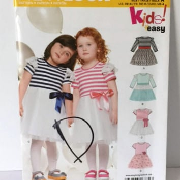 Simplicity New Look Sewing Pattern 6331 Kids Easy Party Dress Girls Toddler 6m 1 2 3 4 New Uncut