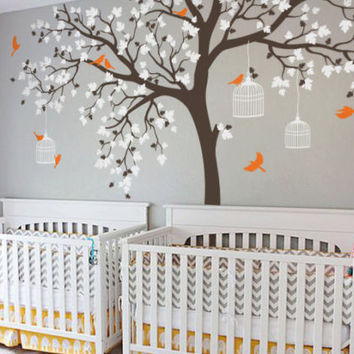 big size Bird Cage Tree Nursery Wall Stickers Removable Vinyl Decal Kids Baby room Decor wall art poster