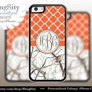 Monogram Iphone 5C case iPhone 5s Tree Camo iPhone 4 case Ipod 4 5 Touch case Real White Orange Quatrefoil Realtree Personalized