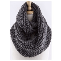Love the Classic Crochet Big Thick Charcoal Grey Infinity Scarf