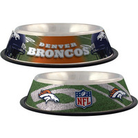 Denver Broncos Stainless Dog Bowl