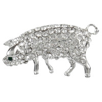 Pig Gemmed Body Brooch