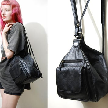 90s Vintage BLACK LEATHER Backpack Bag Convertible Handbag Bohemian 1990s vtg Rucksack