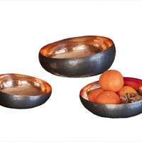 Dessau Home Bronze Copper S/ 3 Slant Bowls - N1111