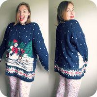 Vintage Snowman Ugly Christmas Knit Tunic Sweater