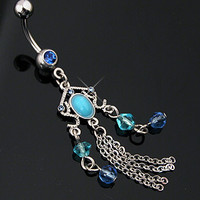 Turquoise Chandelier Belly Button Ring Dangle Navel Body Jewelry Piercing