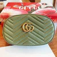 GUCCI New fashion leather round shoulder bag waist crossbody bag Green