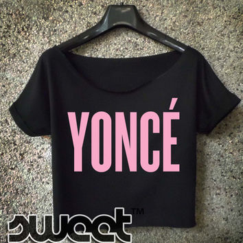 beyonce shirt yonce logo pink cropped tee for women black and white crop top