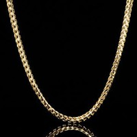"""38"""" 4mm Men's Solid 14K Yellow Gold Plated Franco Chain"""