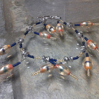 Orange and Blue Glass Bead Anklet