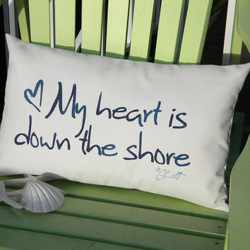 "My Heart Is Down the Shore indoor outdoor pillow 12""x20"" handpainted New Jersey Hurricane Sandy complimentary shipping to NJ Crabby Chris"