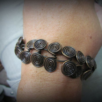 Coiled Copper Bracelet~ Spiral Copper Link Wire Wrapped Jewelry~Rustic Handmade Swirls Statement Bracelet