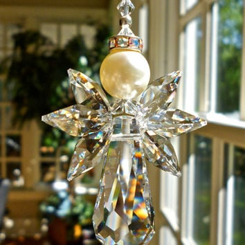 NEW.... Bliss, Swarovski Crystal Angel Suncatcher, Guardian Angel for Car or Home