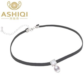 ASHIQI Natural Freshwater pearl Choker Necklace 34cm + 6cm High quality 925 Solid silver Rope Chain for women