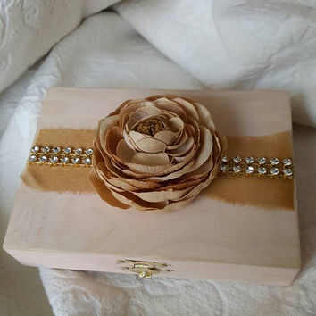 Rustic Shimmery Blush and Gold Aged  His Hers Divided Wedding Ring Bearers Box Rhinestone Trim Flower