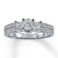 Three-Stone Diamond Ring 1 ct tw Princess-cut 14K White Gold