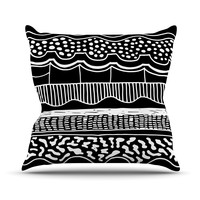 "Vasare Nar ""Abiodun Tribal"" Black White Outdoor Throw Pillow"
