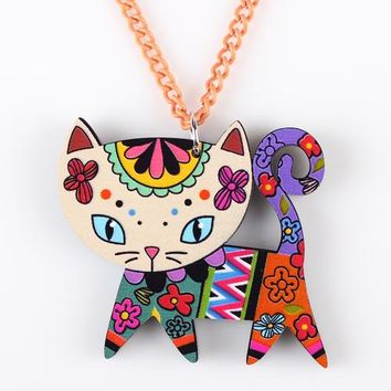 Cat Necklace Long Chain Acrylic Pendant Fashion Jewelry For Women Spring Cute Animal Charm Collar Accessories