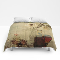 Wine And Wildflowers Comforters by Theresa Campbell D'August Art