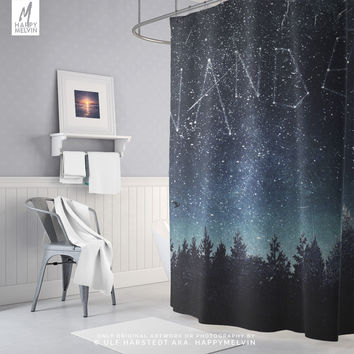 Starry Forest Shower Curtain | Wanderlust Bath Curtain | Boho Bathroom Decor | Original Artwork | Nature Bath Curtain | Unique Gifts