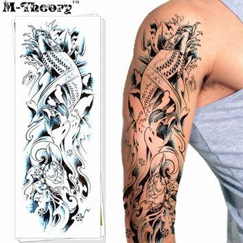 Waterproof Sleeve Arm Makeup Temporary 3d Halloween Magic Tattoos Sticker Henna Flash Tatoos Fake Tatuagem Body Art