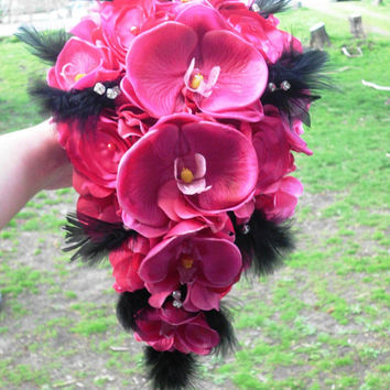Orchid Cascade Wedding Bouquet, Feathers, Rhinestones, Peonies, and Hydrangeas, Bridal Bouquet, Fuschia, Pink, Black, Cascading