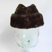 Brown Fur Cap - Distinctive Casuals by Wormser Hat - Faux Mink Felt Bowler - Furry Fuzzy Flip Brim - Winter Fashion - Medium