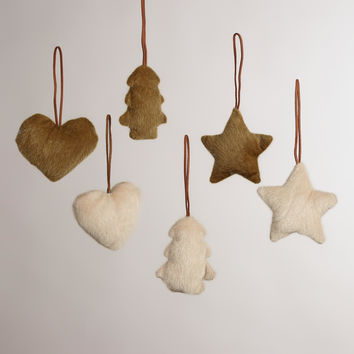 Faux Fur Heart, Star and Tree Ornaments, Set of 6 - World Market