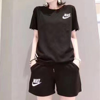 """Nike"" Fashion Casual Letter Print Short Sleeve Shorts Set Two-Piece Sportswear"