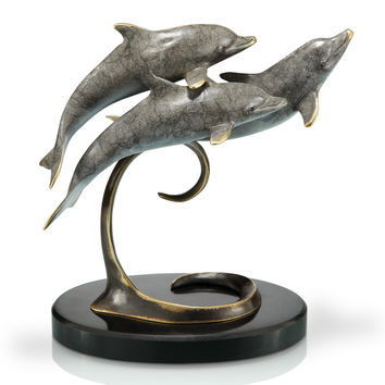 SPI Home Collection Triple Dolphins Sculpture on Marble Base