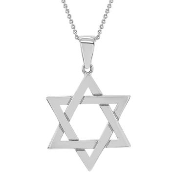 Rhodium Plated Plain Star of David Jewish Pendant Necklace 19""