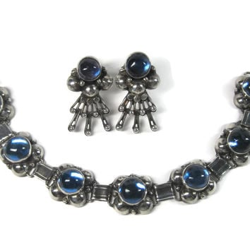 Vintage Mexican Sterling Blue Bracelet Earrings Jewelry Set Los Ballesteros