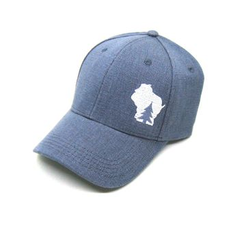 Wisconsin Hat - Gray Hemp Snapback  - pine tree in wisconsin white state