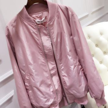 Leisure thin section loose long-sleeved pink jacket baseball uniform