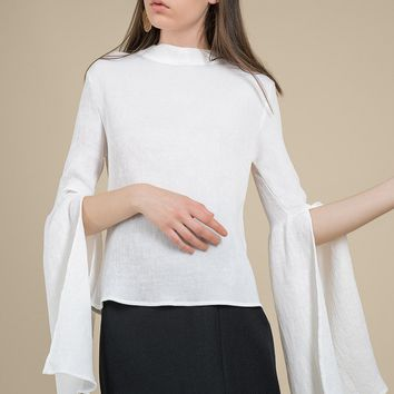 Bell Sleeved Pleated Blouse