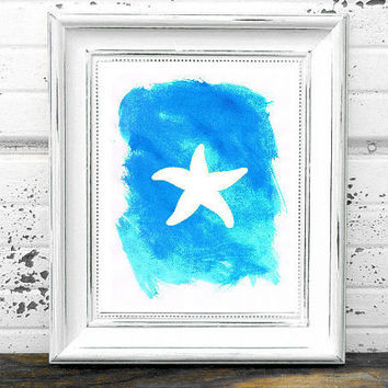 watercolor starfish painting beach nursery print Typographic Print drawing art wall decor framed quotes bedroom poster tumblr room decor