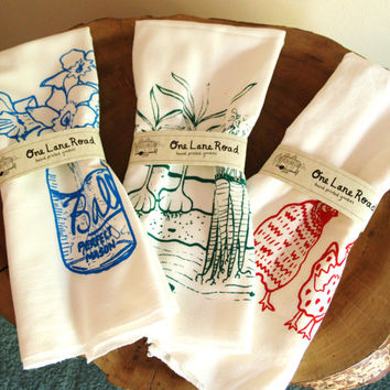 Gift Set - THREE Screen Printed Kitchen Tea Towels - You Choose The Prints -  Flour Sack Material - Hostess Gift
